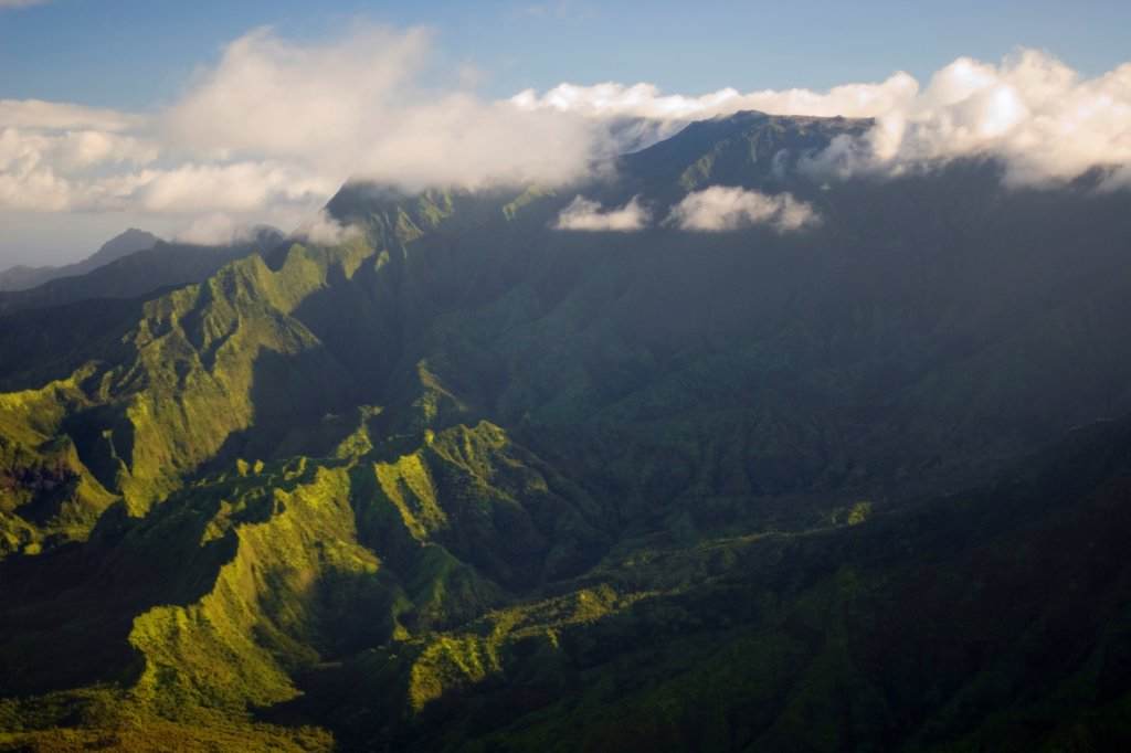 Stock Photo: 4316-1379 Mount Waialeale, One of the Earth's Rainiest Points, on the Hawaiian Island of Kauai