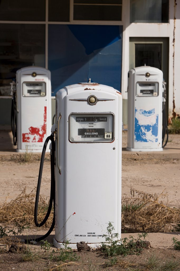 Stock Photo: 4316-1630 Abandoned Gas Pumps on Route 54