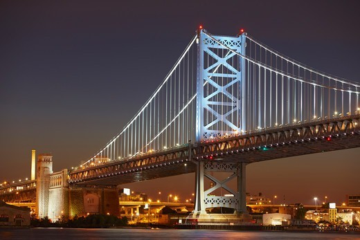Stock Photo: 4316-1955 West Tower of the Benjamin Franklin Bridge and Lights of Philadelphia