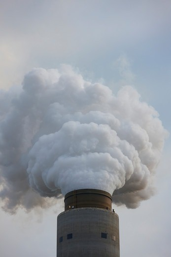 Stock Photo: 4316-1974 Smokestack Dumping Steam and Exhaust into the Sky