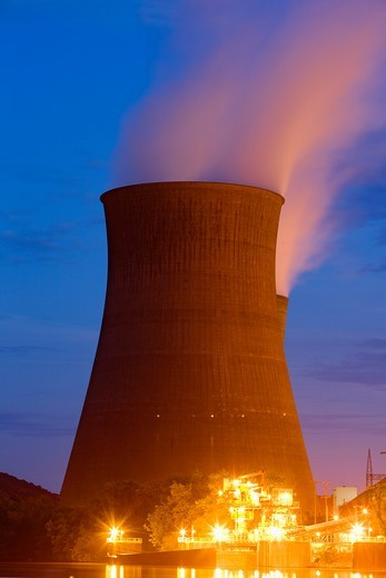 Stock Photo: 4316-1977 Power Plant Cooling Towers
