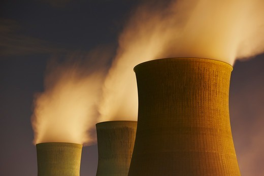 Cooling Towers Spewing Steam. : Stock Photo