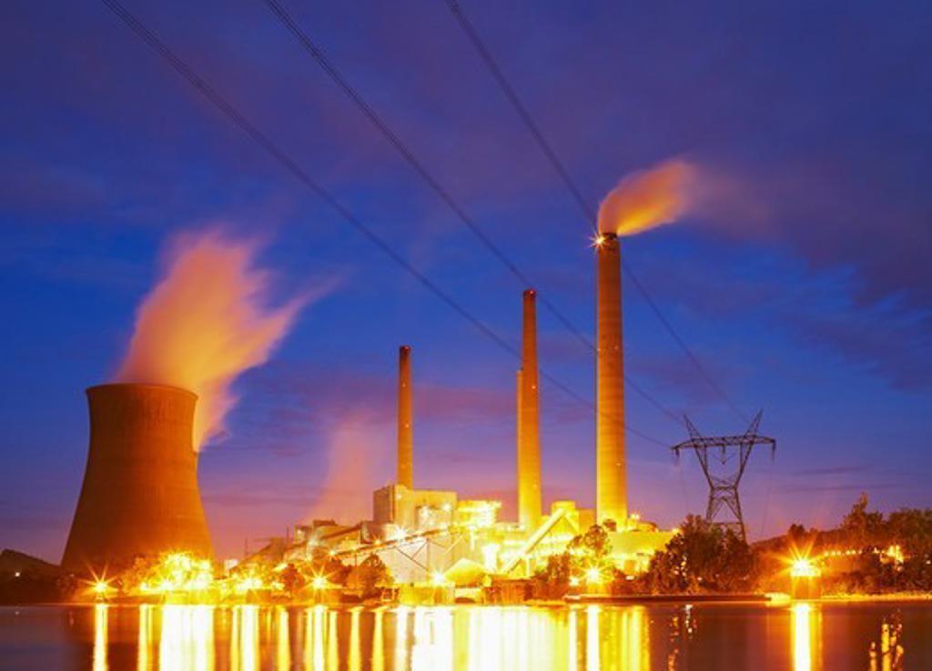 Stock Photo: 4316-1980 John E. Amos Power Plant and Kanawha River at Dusk
