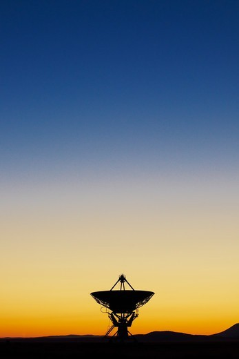 Stock Photo: 4316-2532 The Very Large Array, a complex of 27 independent movable radio observatories, lies on a high plain near Socorro, New Mexico. Scientists use the Very Large Array, or VLA, for deep space research.