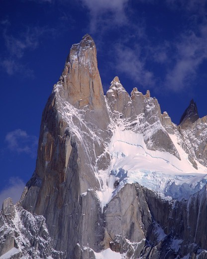 Stock Photo: 4316-271 The Sheer Cerro Poincenot Thrusts Into the Cobalt Blue Patagonian Sky