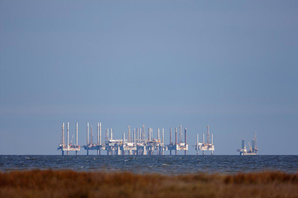 Oil platforms in the Gulf of Mexico, near Cameron, Louisiana. : Stock Photo
