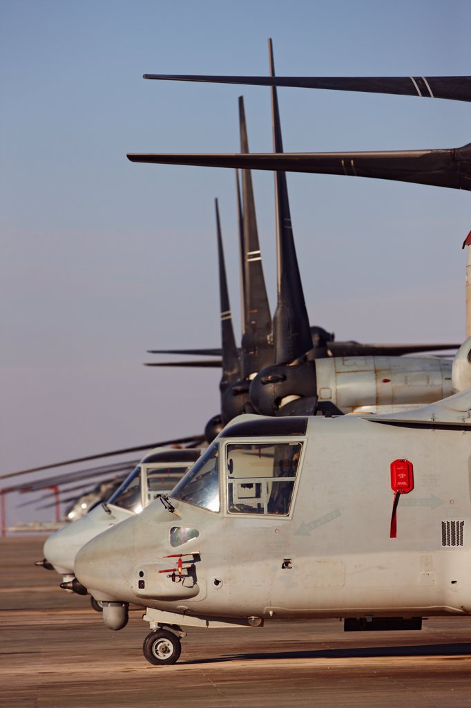 A line of U.S. Marine Corps MV-22 Ospreys, Camp Bastion, Helmand Province, southern Afghanistan. : Stock Photo