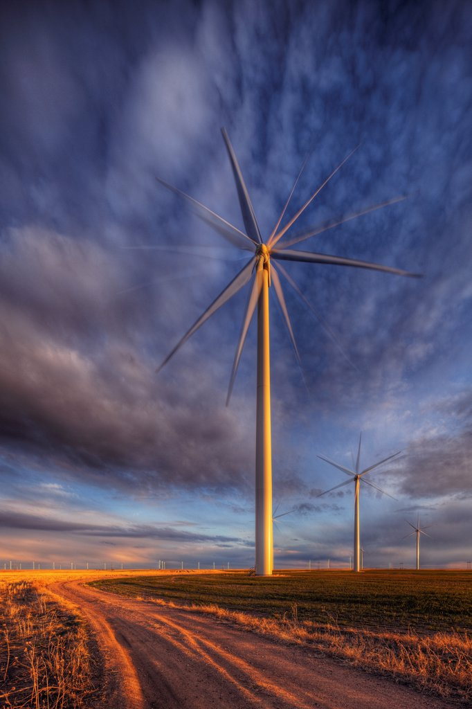 A high dynamic range, or HDR, image of a wind turbine in the Cedar Creek Wind farm, near Grover, Colorado. : Stock Photo