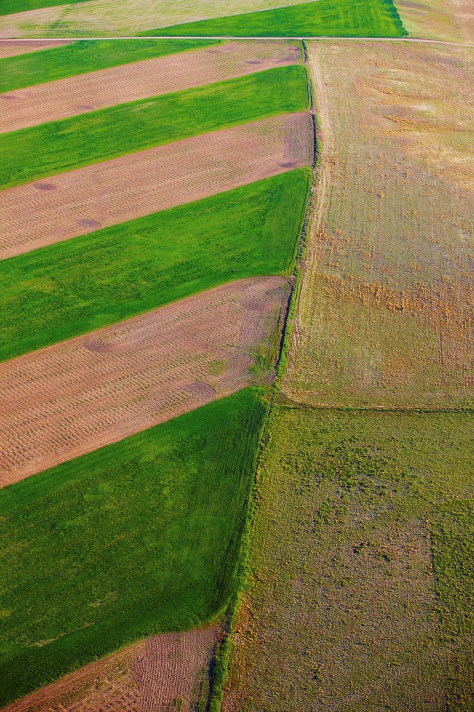 Stock Photo: 4316-3374 An aerial view of patchwork of fields, on the plains of eastern Colorado.