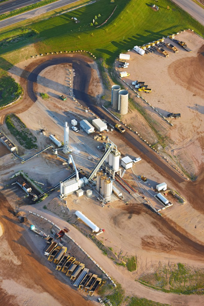 An aerial view of a cement factory, on Colorado's eastern plains. : Stock Photo