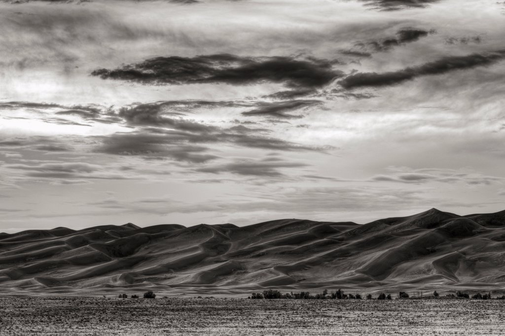 Stock Photo: 4316-3511 Great Sand Dunes, black and white high dynamic range, or HDR image.