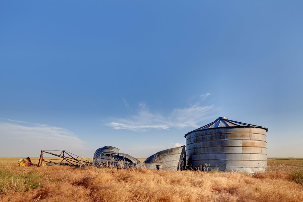 Decaying Grain Bins, HDR, or High Dynamic Range Image : Stock Photo