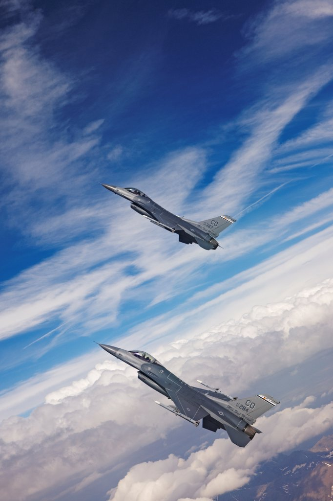 Stock Photo: 4316-4160 Two F-16s in Flight