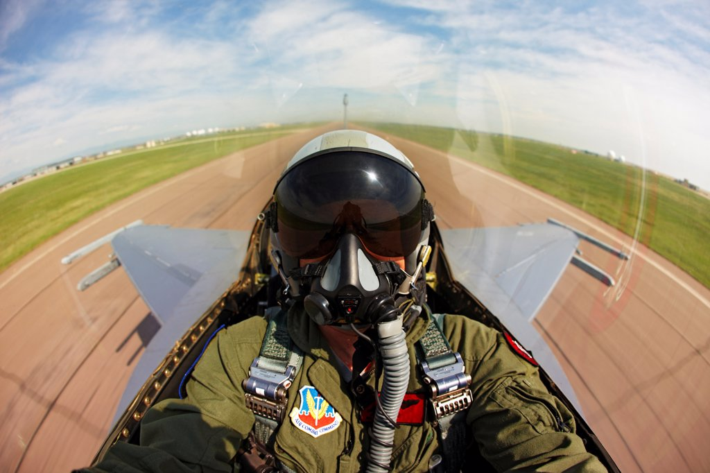 Cockpit View of Pilot of an F-16 : Stock Photo