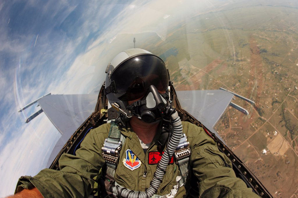 Stock Photo: 4316-4168 Cockpit View of Pilot of an F-16