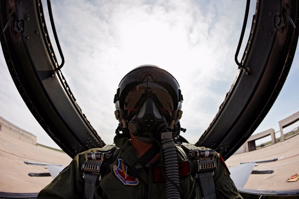 Stock Photo: 4316-4169 Cockpit View of Pilot of an F-16