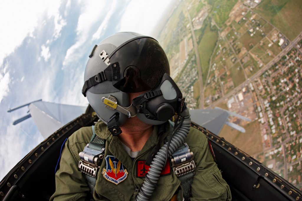 Stock Photo: 4316-4178 Cockpit View of Pilot of an F-16