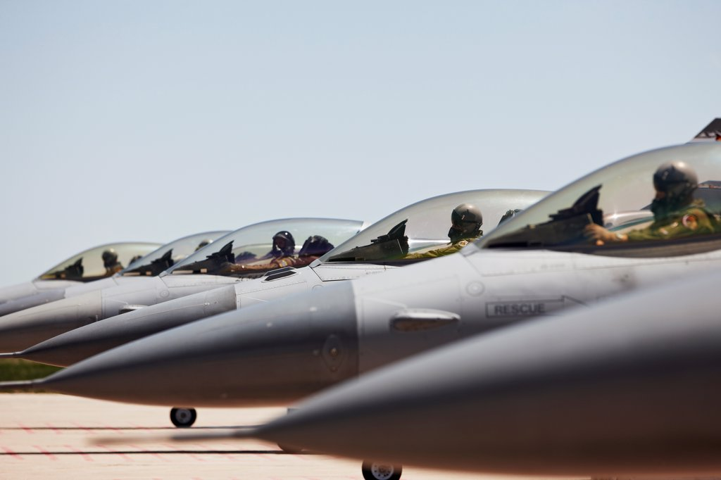 Line of F-16 Jets, Preparing to Launch : Stock Photo