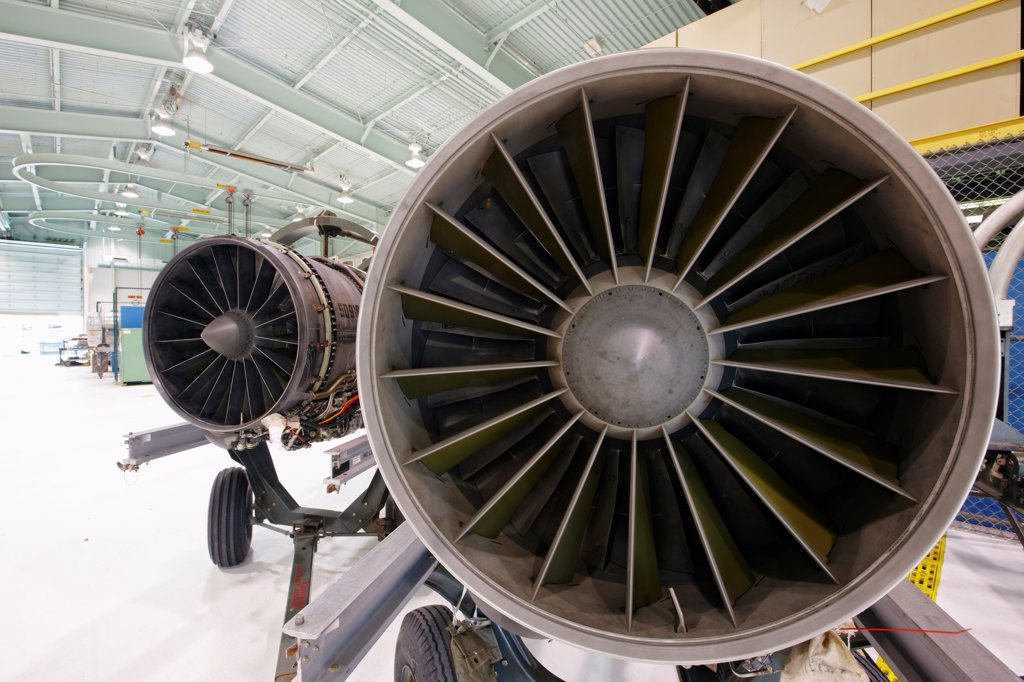 Stock Photo: 4316-4203 Two Jet Engines, Each Showing Turbine Blades, Side-by-Side