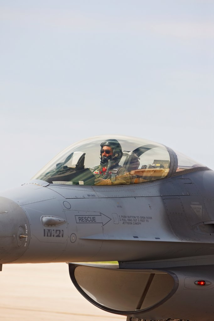 Stock Photo: 4316-4214 Pilot Prepares to Launch F-16