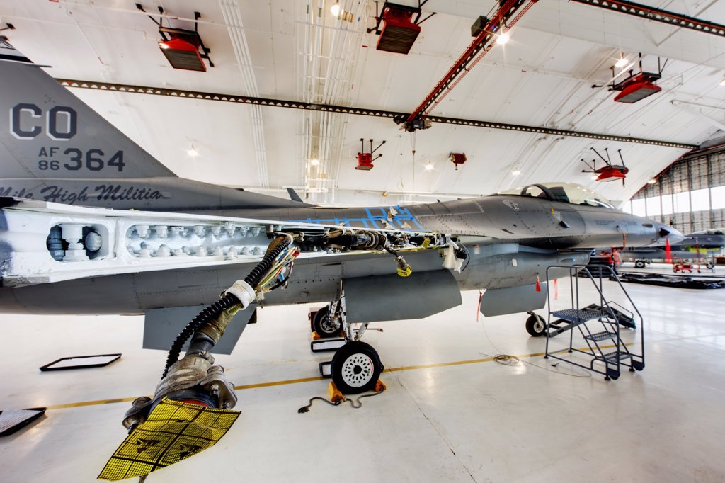 Stock Photo: 4316-4234 F-16 in Maintenance Hangar, Showing Disassembled Wing, High Dynamic Range, or HDR Image