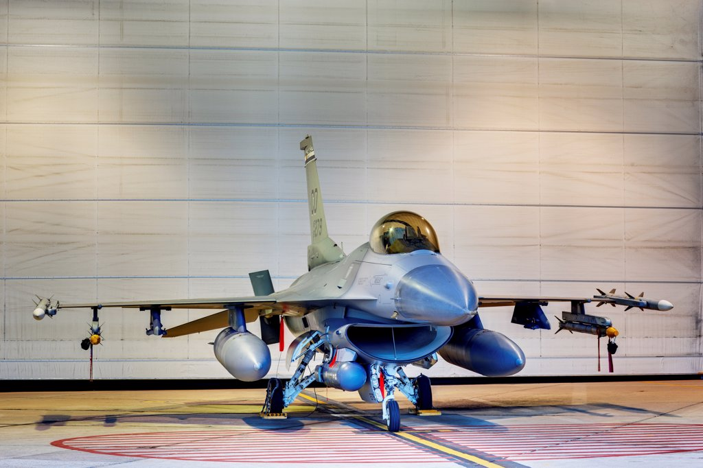 Stock Photo: 4316-4246 F-16 Alert Jet in Hangar, Loaded with Live Weapons, High Dynamic Range, or HDR Image
