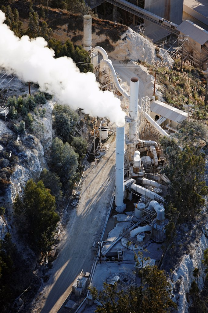 Stock Photo: 4316-4350 Aerial View of Diatomaceous Earth Mine and Processing Facility