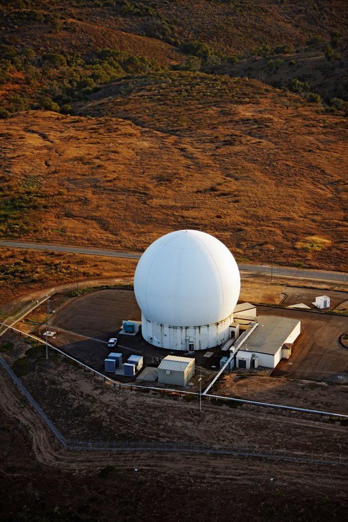 Stock Photo: 4316-4358 Aerial View of Radar Dome at Vandenberg Air Force Base