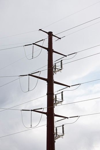 High Voltage Power Lines and Power Line Tower : Stock Photo