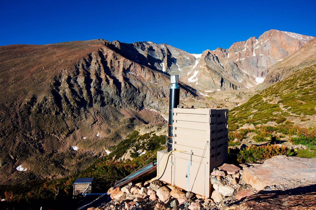 Solar composting toilet below east face of Longs Peak (14,259 feet, 4,346 meters), Rocky Mountain National Park, Colorado, USA : Stock Photo