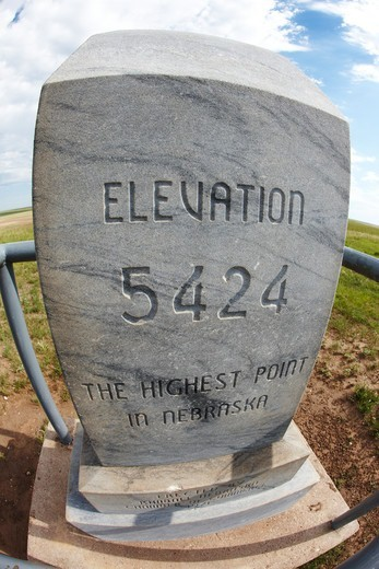 Stone marker at Nebraska's highest elevation point, Panorama Point, 5,424 feet above sea level : Stock Photo