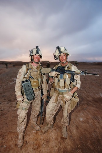 United States Marine combat engineers during a combat operation in Afghanistan's Helmand Province : Stock Photo