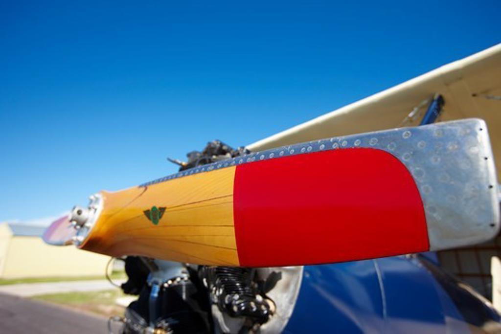 Boeing-Stearman Model 75 Biplane on runway, Lander, Wyoming : Stock Photo