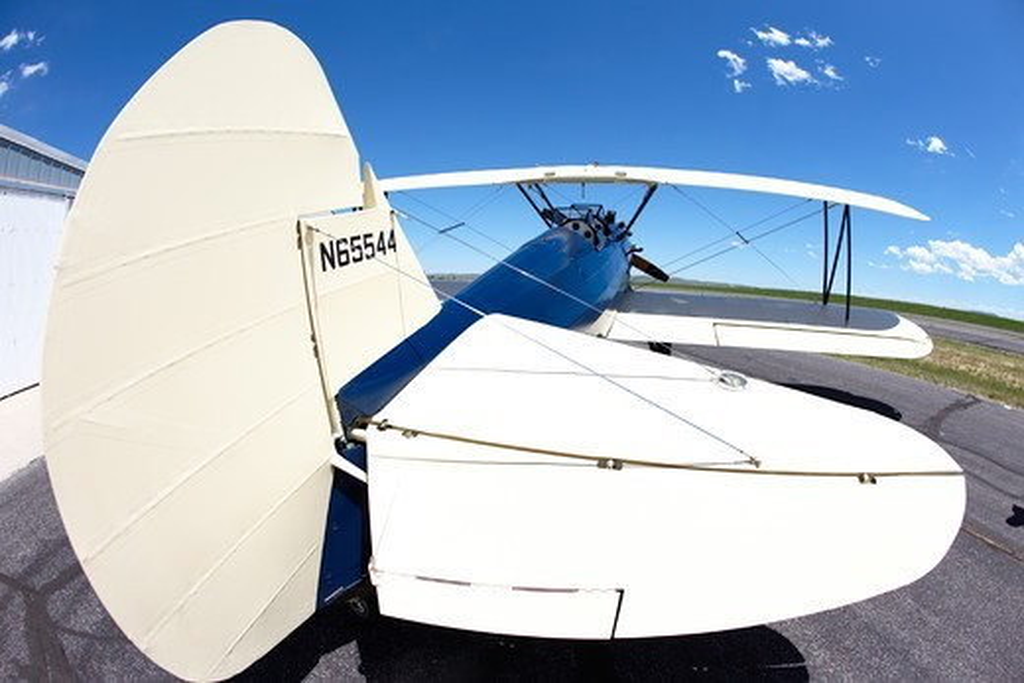 Stock Photo: 4316-4835 Boeing-Stearman Model 75 Biplane on runway, Lander, Wyoming