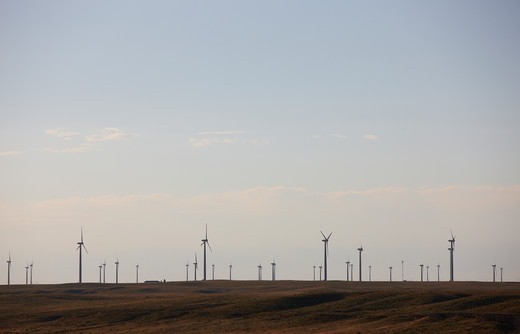 Stock Photo: 4316-4840 Line of wind turbines, Cedar Creek Wind Farm, near Grover, Colorado