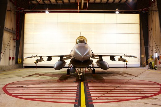 Stock Photo: 4316-4920 F-16, loaded with live weapons, in alert hangar, Buckley Air Force Base, Colorado