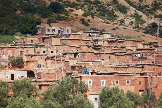 Stock Photo: 4316-5038 Homes built atop one another, Atlas Mountains, Morocco