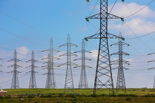 Power lines and power line towers, Morocco : Stock Photo