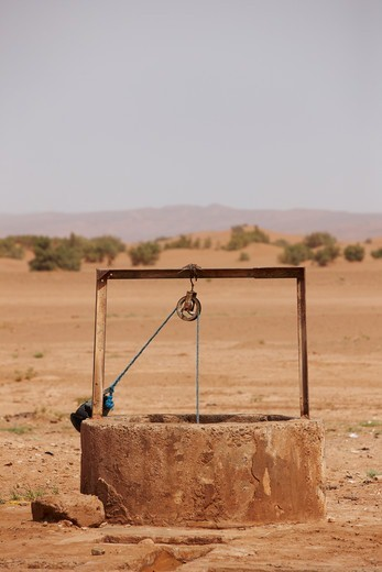 Stock Photo: 4316-5113 Water well deep in the interior of the Sahara Desert, Morocco