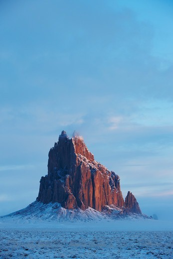 Winter storm clears around Shiprock, New Mexico, USA : Stock Photo