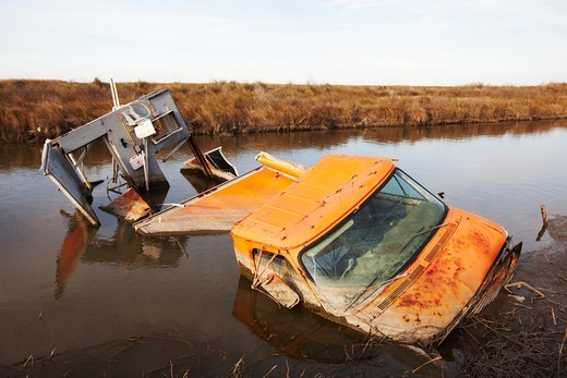 Stock Photo: 4316-5464 Car destroyed and partially submerged in swamp by a hurricane, Cameron, Louisiana, USA