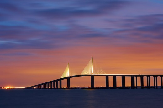 Stock Photo: 4316-5483 Sunshine Skyway Bridge at night, Tampa Bay, Florida, USA