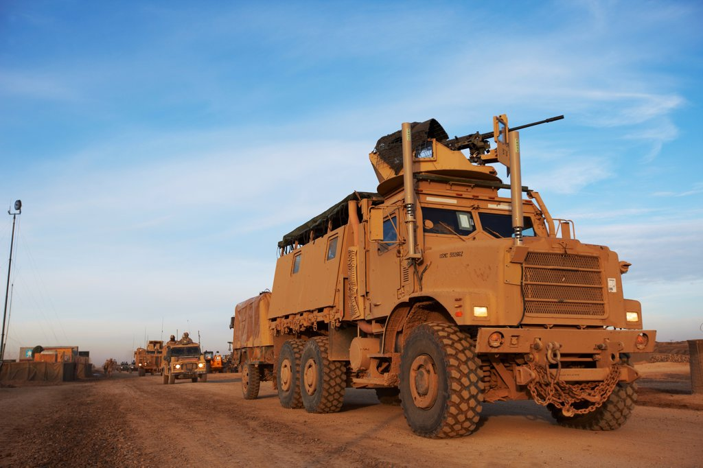Stock Photo: 4316-5544 MTVR or Medium Tactical Vehicle Replacement (also known as a 7-ton) Fitted with Electronic Countermeasure Devices to thwart radio controlled improvised explosive devices (IEDs), Camp Leatherneck, Helmand Province, Afghanistan