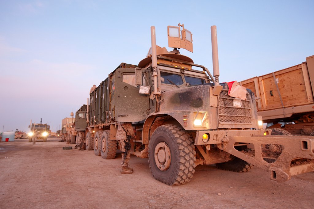 Stock Photo: 4316-5562 MTVR or Medium Tactical Vehicle Replacement (known as a 7-ton) Fitted with Electronic Countermeasure Devices to thwart radio controlled improvised explosive devices (IEDs), Camp Leatherneck, Helmand Province, Afghanistan