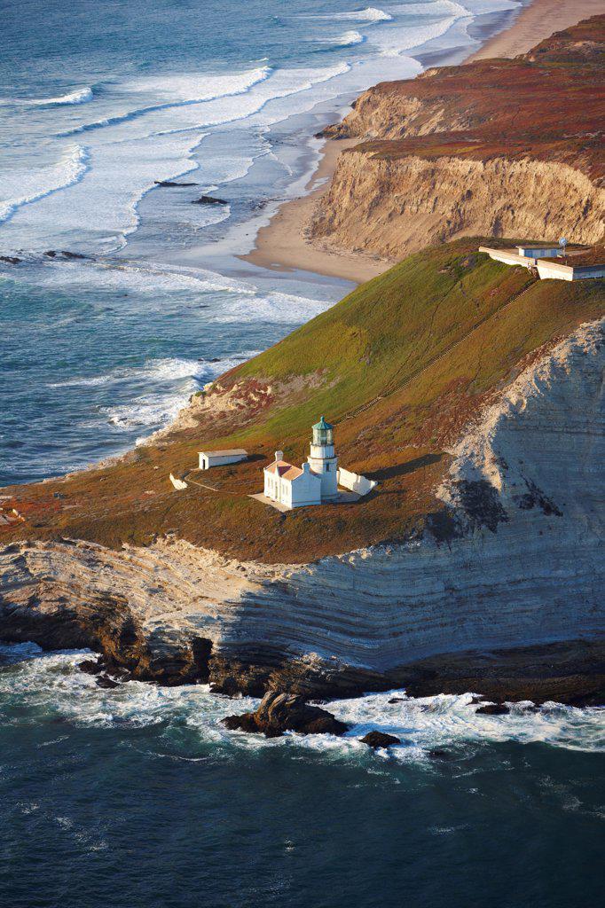 Stock Photo: 4316-5817 USA, California, Santa Barbara County, Aerial view of Point Conception lighthouse