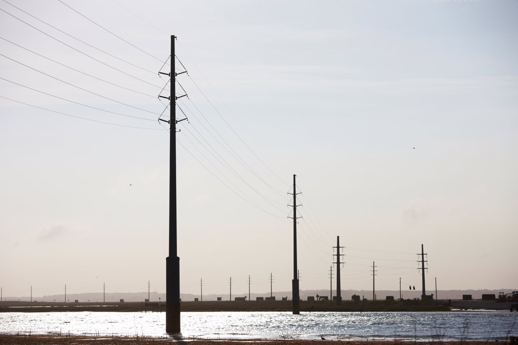 Stock Photo: 4316-5951 USA, Virginia, Chincoteague Island, High voltage power lines