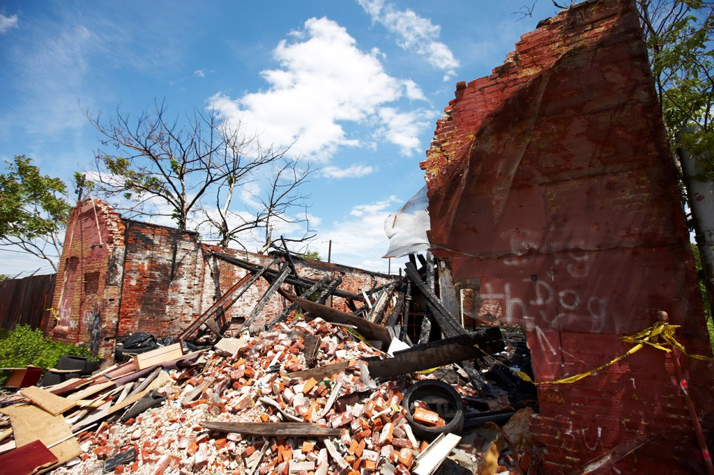 Stock Photo: 4316-5958 USA, New Jersey, Camden, Severe urban blight