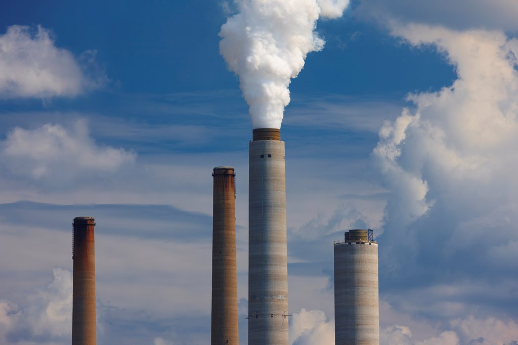 Stock Photo: 4316-5972 USA, West Virginia, Poca, Smokestacks, John E. Amos coal fired power plant
