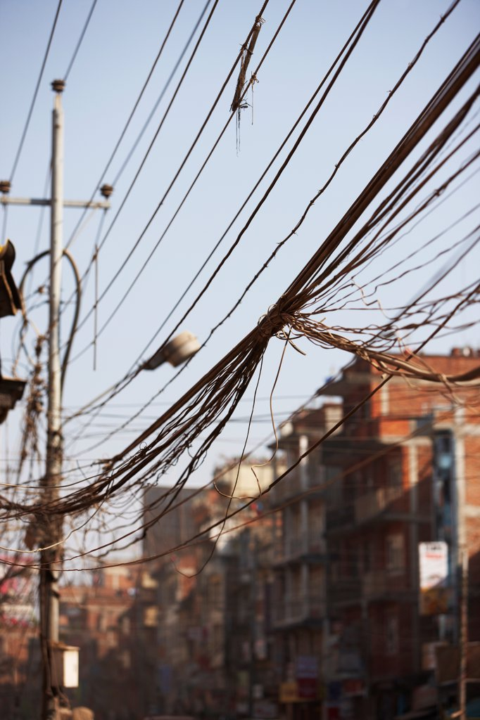 Stock Photo: 4316-6354 Nepal, Himalaya, Kathmandu, telephone and power lines