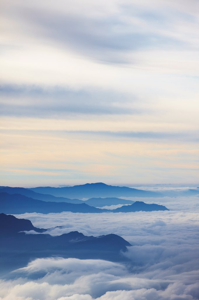 Stock Photo: 4316-6384 Nepal, Himalaya, mountain peaks shrouded in clouds